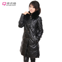 Ultra long genuine leather down clothing female sheepskin down coat outerwear 2013 fox fur slim