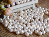 Free ship! Promotion Stock Items - White 800pcs 2mm Big Hole 9-10mm Loose Freshwater pearl beads For Leather Jewelry