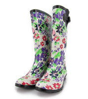 Women's Rain Boots Beautiful flower rubber  tall  slip-resistant water  lining plus size  Rainboots Shoes