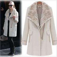 Ladies Fashion Winter blends long coat outerwear patchwork clothes fur wool blends Overcoat Women