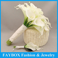 Top quality Artifical Calla bundle Flower bride Bridal wedding bouquet bridegroom Pin corsage set