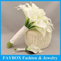Top quality Artifical Calla bundle Flower bride Bridal wedding bouquet bridegroom Pin corsage set