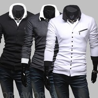 2012 Free shipping New Winter Unique oblique zipper slim Mens Long Sleeve sweater