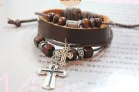 New Men Women Braid Leather Cord Beads Cross Adjustable Cowhide Bracelet High Fashion Vintage Jewelry Free Shipping HeHuanSLQ081
