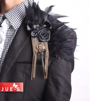 Ultralarge paillette chain brooch epaulette suit formal dress personality male corsage