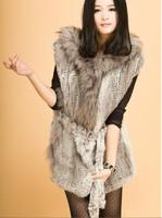 2013 new Fashion mid-long rabbit fur raccoon fur vest knitted vest female fur coat hooded