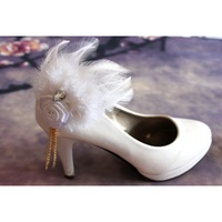 Handmade bride feather rose corsage shoe flower dual married white feather tassel brooch