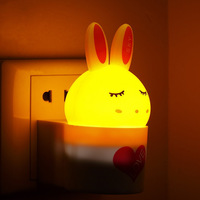 Led small night light plug in light control sensor light energy saving lamp baby room 3d eye-lantern child baby wall lamp
