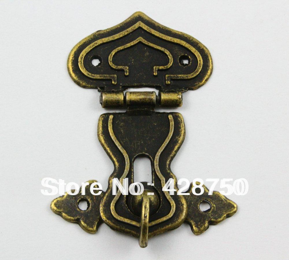 Antique Brass Jewelry Box Hasp Latch Lock 48x64mm with Screws(China (Mainland))