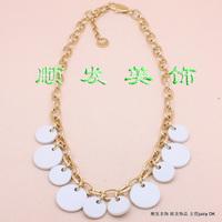 Free shipping Dyrberg kern dk fashion white circle leather necklace