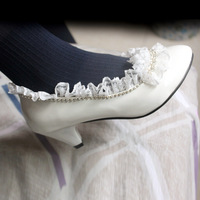 Fashion wedding bridal shoes crystal lace rhinestone sweet dance party lace high heeled shoes pumps