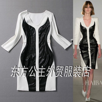Fall 2013 fashion women t stage of v-neck patchwork slim long-sleeved dress close-fitting full dress cotton special occasions