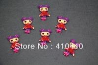 "50pcs  Lalaloopsy Purple Head Red Dress Girl Resins Scrapbooking Embellishment  1""  Free shipping"
