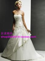 Tube top wedding dress senior wedding beige wedding gown wedding dress train wlf394