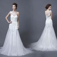 Wedding wedding dress lace fish tail brief one shoulder plus size wedding dress fresh