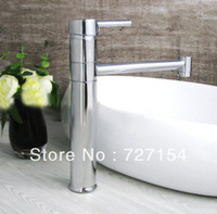 Free Shipping! Concise Fashion Polished Chrome Faucet Solid Brass Basin Sink Faucet Bathroom Tall