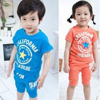 2013 summer boys clothing girls short-sleeve T-shirt capris casual set tz-0144