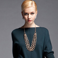 NEW Brand Fashion star style double layer metal chain fashion necklace 3835  womens Fashion 2013