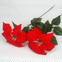 Artificial flower christmas flower poinsettia home decoration gold single safflower artificial flower