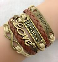 3pcs Love  Infinity Believe Bracelet Wax Rope Bracelet  1423 Min order 10$