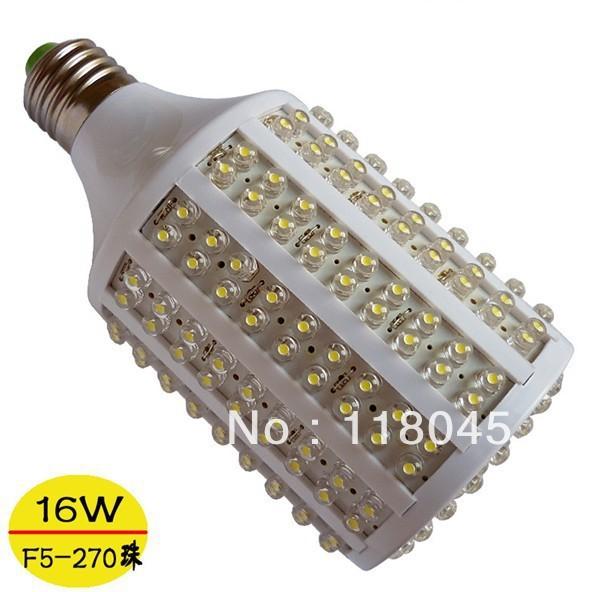 Free Shipping E27 E14 B22 16w led corn light led spotlight 5mm dip 270chips led bulb led lamp CE RoHS(China (Mainland))