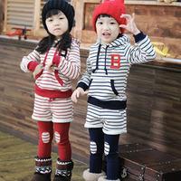 2013 spring and autumn clothing boys girls clothing baby child sweatshirt legging set tz-0977