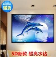 Diy 3d diamond painting cross stitch diamond rhinestone pasted painting dolphin water round square drill