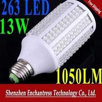 FreeShipping E27 13W 200-230V 263 leds 1050LM Cold White Corn Light Bulb Energy saving LED Bulb Lamp led lighting