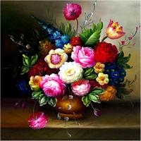 Diamond painting print 5d cross stitch oil painting vase rhinestone pasted diy resin square drill