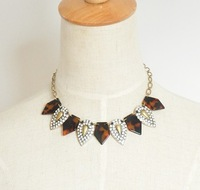 Free Shipping Designer Inspired Tortoise Turtle Shell Pave Crystal Necklace