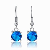 Wholesale Fashion Zircon Crystal Dangle Earrings For Girl Baby Children 18K White Gold Plated Jewelry Earrings For Women 2013
