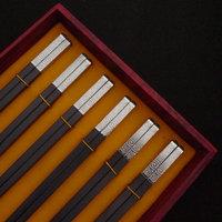 Silver alloy chopsticks double gift box gift stainless steel dinnerware set