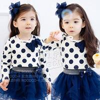 2013 autumn polka dot bow girls clothing baby long-sleeve T-shirt tx-1177 basic shirt