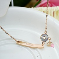 New Arrivals High Quality Rose Gold Plated Titanium Steel Brand Design Shell Bar Necklace Free Shipping