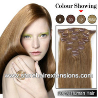 24inch Clips hair 100% Real Human Remy Hair Extensions 8pcs/set 110g color #12 Light brown  free shipping