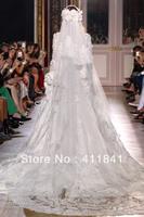 Free shipping two layers three metres zuhair murad lace applique wedding veil bridal veil