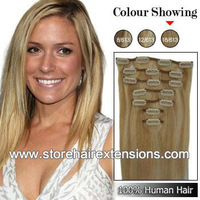 24inch Clips hair 100% Real Human Remy Hair Extensions 8pcs/set 110g color #18/613 Ash blonde/ Light blonde  free shipping