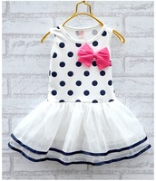 one piece retail children sleeveless polka dot tutu dress girl summer dress children summer clothes