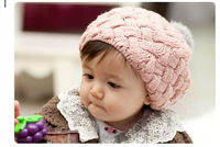 Rabbit fur ball child hat ear protector cap baby beret hat