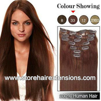 24inch Clips hair 100% Real Human Remy Hair Extensions 8pcs/set 110g color #33 dark auburn  free shipping