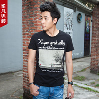 2013 male t-shirt slim men's short-sleeve tee shirt basic shirt print t-shirt