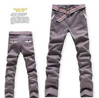 2013 slim solid color casual pants trousers elastic grey series easy care pants trousers pants