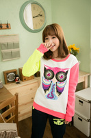 2013 Women New Autumn Winter Fleece Collar Thickened Color Cartoon Owl Pattern Hoodies Sweatershirts  W6373