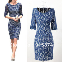 Same Style As Kate Princess Half Long Sleeve Lace Dress Slim Graceful Royalblue Floral Casual Dress Free Shipping