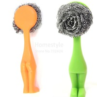 New Cute Pot Shape Kitchen Soft Stainless Steel Wire Ball Cleaning Brush Dishwashing Essential 10713
