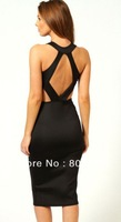 Charlie Cut out Back Detail mid-calf Dress hollow out new fashion 2013 Black Red LC6141