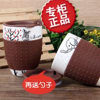 Bone china ceramic mug office glass milk breakfast cup spoon with lid