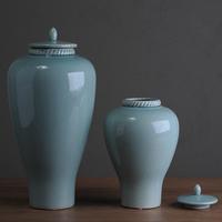 Blue ceramic vase with lid crack flower decoration b167