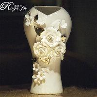 Modern home fashion brief ceramic small vase dried flowers porcelain flange vase dining table vase