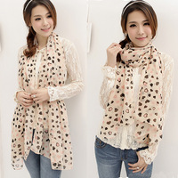 FreeShipping New Cute Women Chiffon Scarf Wraps Shawl Stole Soft Scarve Sweet Heart Printed CY0746 DropShipping
